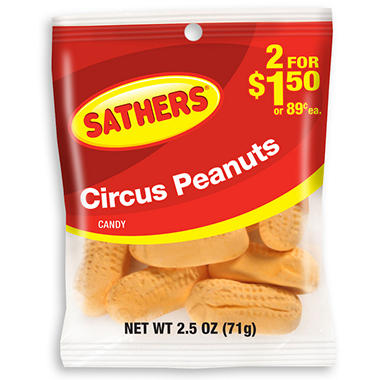Sathers Circus Peanuts - 2.5 oz. Bag - 12 ct