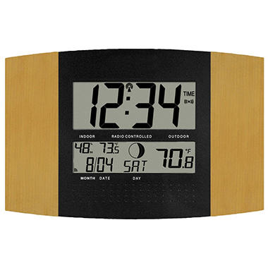 La Crosse Technology Atomic Digital Wall Clock WS-8147U-IT with Temperature & Moon Phase