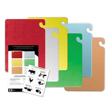 "San Jamar Cut-N-Carry Cutting Boards with Hooks Set - 15""D x 20""W - 6 ct. - Assorted Colors"