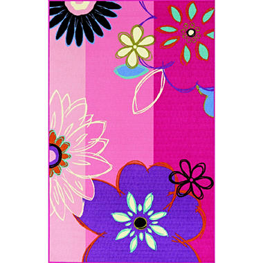 "Summer Flowers Area Rug - 3'3"" x 5' - Pink Floral"