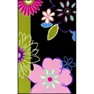 "Summer Flowers Area Rug - 3'3"" x 5' - Chocolate Floral"