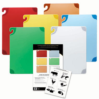 "San Jamar Saf-T-Grip Anti-Slip Cutting Boards with Hooks Set - 12""D x 18""W - 6 ct. - Assorted Colors"