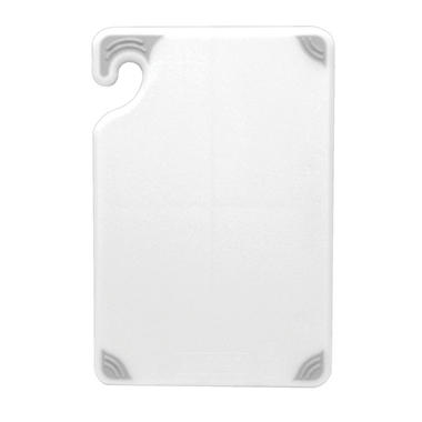 "San Jamar Saf-T-Grip Anti-Slip Cutting Board with Hook - 12""D x 18""W - White"