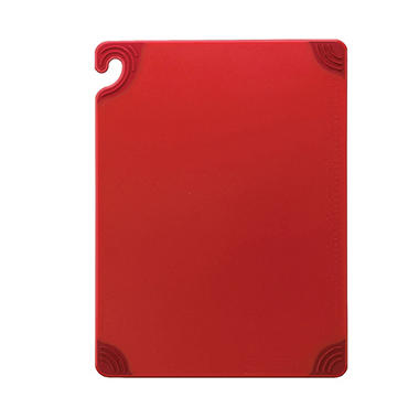 "San Jamar Saf-T-Grip Anti-Slip Cutting Board with Hook - 18""D x 24""W - Red"