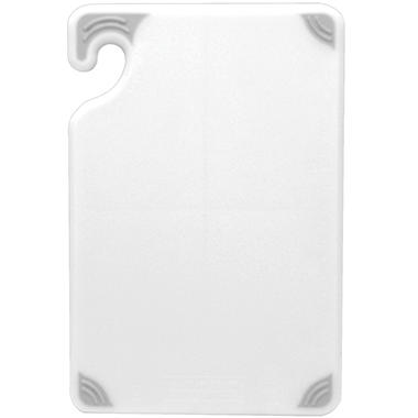 "San Jamar Saf-T-Grip Anti-Slip Cutting Board with Hook - 18""D x 24""W - White"