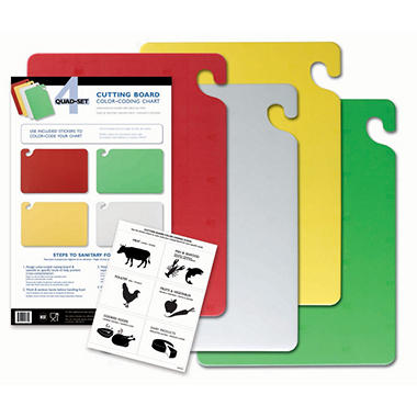 """San Jamar Cut-N-Carry Cutting Boards with Hooks Set - 15""""D x 20""""W - 4 ct. - Assorted Colors"""