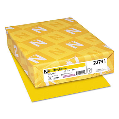 Neenah Astrobrights Colored Card Stock, 65 lb, 8 1/2 x 11, Solar Yellow, 250 Sheets