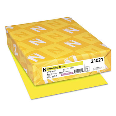 Neenah Astrobrights Colored Card Stock, 65 lb, 8 1/2 x 11, Lift-Off Lemon, 250 Sheets
