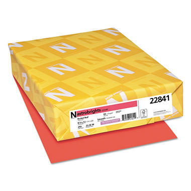 Neenah Astrobrights Colored Card Stock, 65 lb, 8 1/2 x 11, Rocket Red, 250 Sheets