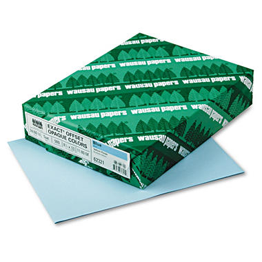 Wausau - Exact Opaque Colored Paper, 24lb, Blue - Ream