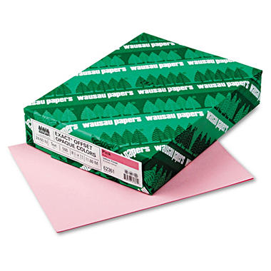 Wausau - Exact Opaque Colored Paper, 24lb, Pink - Ream
