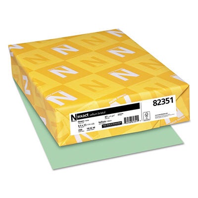 Wausau - Exact Vellum Bristol Card Stock, 67lb, Green - 250 Sheets