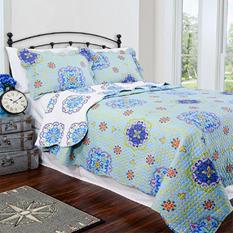 Vintage Classics Collection Candella Blue Quilt Set