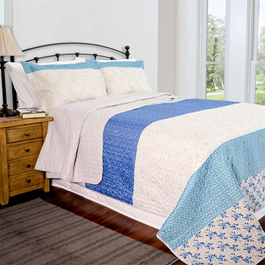 Home ID Collection Blue Stone Quilt Set - Various Sizes