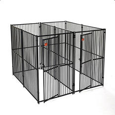 Lucky Dog European Style 2 Run Kennel w/ Common Wall - 10'L x 5'W x 6'H