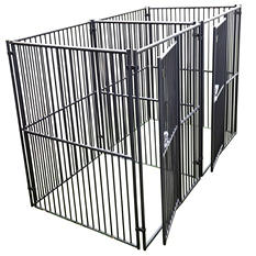 Lucky Dog European Style 2 Run Kennel w/ Common Wall - 5'L x 5'W x 6'H