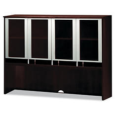 "Mayline 72"" Wide Napoli Series Assembeld Hutch with Glass Doors, Mahogany"