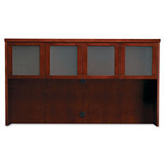 Mayline Mira Series Wood Veneer Framed Glass Hutch Doors, Medium Cherry