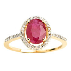 Oval Ruby with Diamond Halo Ring in 14K Yellow Gold