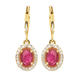 Ruby with Diamond Halo Earrings in 14K Yellow Gold
