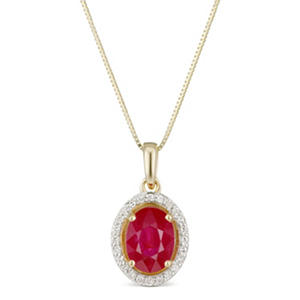 Oval Ruby and Diamond Halo Pendant in 14K Yellow Gold