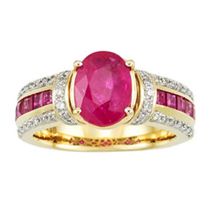 Oval and Square Ruby with Diamond Ring in 14K Yellow Gold