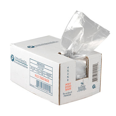 Food and Utility Poly Bags, 12x8x30, .80 mil, 500 count