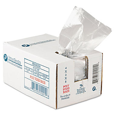Food and Utility Poly Bags, 4x2x8, 1000 Count