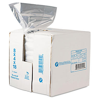 Food and Utility Poly Bags, 8x4x18, 1000 count