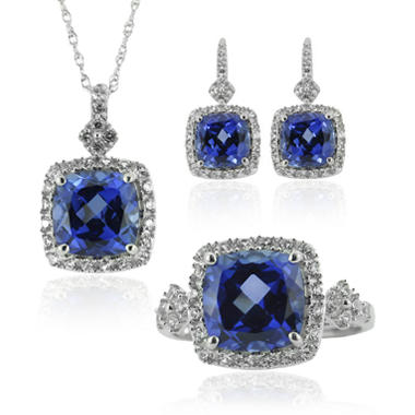 Lab-Created Ceylon and White Sapphire 3 Piece Set in Sterling Silver