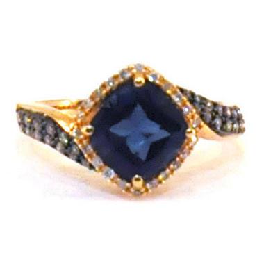 TRTD LD BL TPZ RING .26TW DIAMOND - 14KR