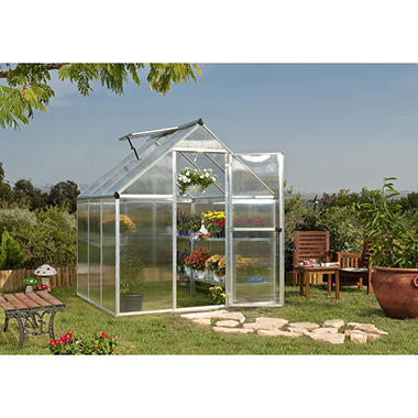 Nature 6' x 6' Greenhouse - Silver Frame - Twin-wall