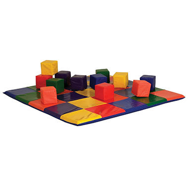 Patchwork Toddler Mat and 12 Toddler Blocks Set