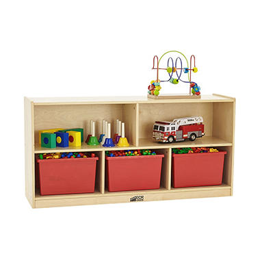 ECR4Kids 5-Section Wood Storage Cabinet, Natural Wood