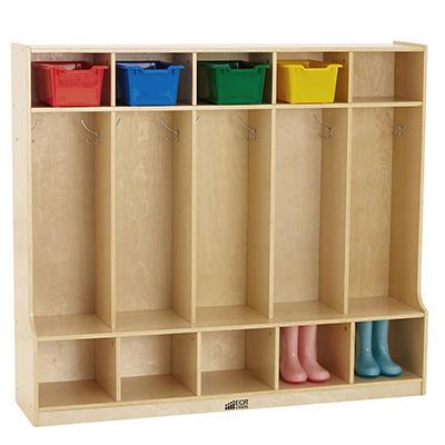5 Section Coat Locker w/ Built-in Bench