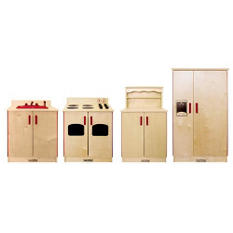 4 pc Dramatic Play Wood Kitchen Set