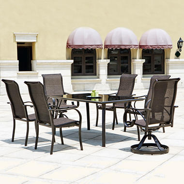 Mission Hills® Coronado 7pc Dining Set – Swivel Armchairs and Tempered Glass Top Table