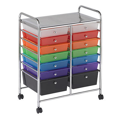 ECR4Kids 14 Drawer Mobile Organizer, Assorted Colors