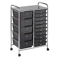 ECR4Kids 15 Drawer Mobile Organizer, Smoke