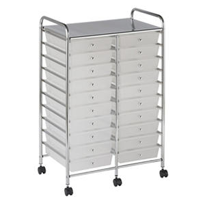 ECR4Kids 20 Drawer Mobile Organizer, White
