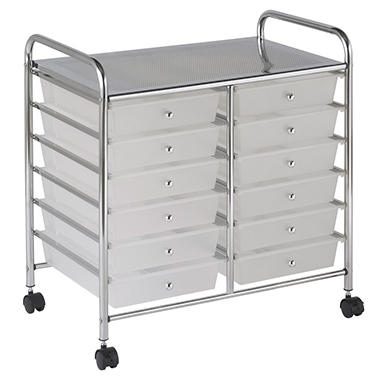 ECR4Kids 12 Drawer Mobile Organizer, White