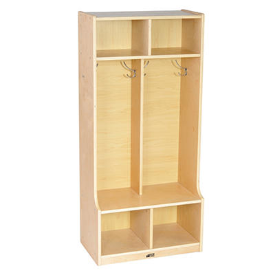 ECR4Kids 2-Section Birch Coat Locker with Bench