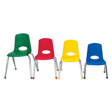 "Children's 10"" Stack Chair Chrome Legs with Ball Glides - Assorted - 6 Pack"