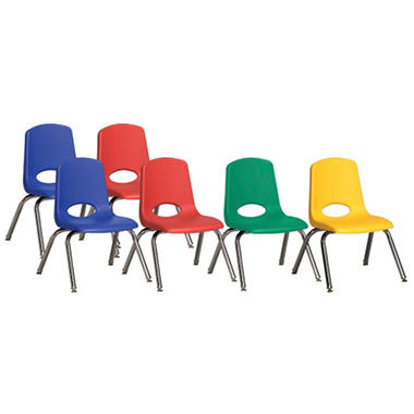 "Children's 10"" Stack Chair Chrome Legs with Swivel Glides - Assorted - 6 Pack"