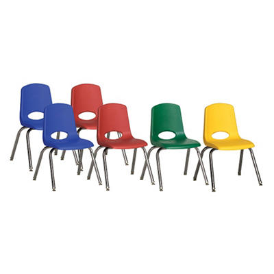 """Children's 14"""" Stack Chair Chrome Legs with Swivel Glides - Assorted - 6 Pack"""