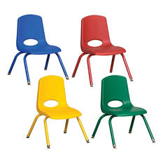 "ECR4Kids 12"" Stack Chair with Matching Legs & Swivel Glides, Assorted Colors - 6 pack"