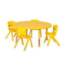 "ECR4Kids 45"" Round Resin Table with Matching 12"" Chairs, Select Color"