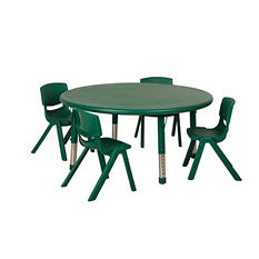 "ECR4Kids 45"" Round Resin Table with Matching 14"" Chairs, Select Color"