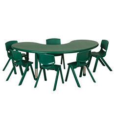 "ECR4Kids 65"" Kidney Resin Adjustable Activity Table with Matching 12"" Chairs, Select Color"