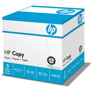 "HP Copy Paper 92 Brightness/20 lb. 8 1/2"" x 11""; 2,500 Sheets/Carton"